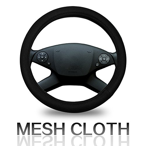 Cover 15 Inch Universal Polyester/Mesh - Black Car Steering Wheel Cover ()