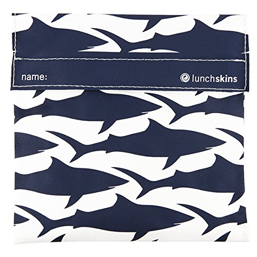 Lunchskins Reusable Quart Navy Shark product image