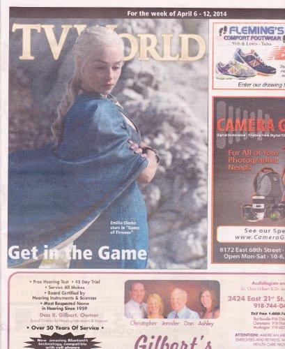 Emilia Clarke (Daenerys Targaryen, Game of Thrones), Emily Wickersham (NCIS) - April 6-12, 2014 TV World Magazine Directory [OVER-SIZED] (Ncis Wickersham)