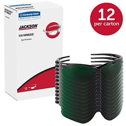 Jackson Safety V30 Nemesis Safety Glasses (25671), IRUV Shade 5.0 Lenses with Black Frame, 12 Pairs / Case