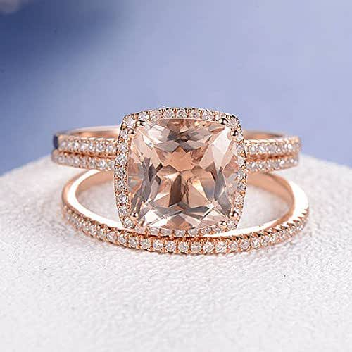Amazon.com: Cushion Cut Morganite Engagement Ring Rose