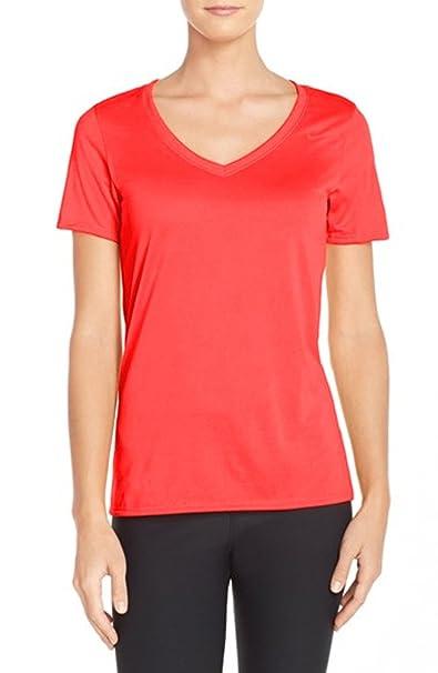 4edd1f2fa5bb Nike Women s  Legend 2.0  Scarlet Fire Summer DRI-FIT V-Neck Shirt ...