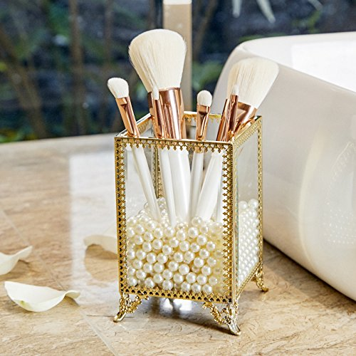 PuTwo Makeup Brush Holder Glass and Brass Vintage Makeup Brush Organizer Handmade Cosmetic Brush Storage with White Pearls for Dresser Vanity Countertop – Gold