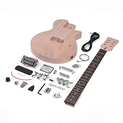 - Kalaok Children LP Style Unfinished DIY Electric Guitar Kit Mahogany Body & Neck Rosewood Fingerboard Single Dual-coil Pickup