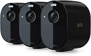 Arlo Essential Spotlight Camera | 3 Pack | Wire-Free, 1080p Video | Color Night Vision, 2-Way Audio, 6-Month Battery Life | Direct to WiFi, No Hub Needed | Works with Alexa | Black | VMC2330B