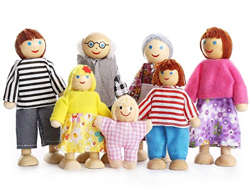 Dolls Family Wooden Dolls Playset Wooden Figures Set of 7-Piece People for Children House Pretend Gift