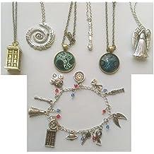 7pcs/set Inspired Charms Bracelet & Pendant Necklaces TARDIS Sonic Screwdriver