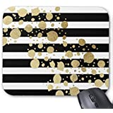 Mpban Gold Paint Splatter On Black and White Stripes Mouse Pad Mouse Mat Design Natural Eco Rubber Durable Computer Desk Stationery Accessories Mouse Pads For Gift