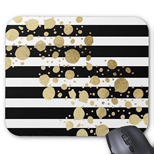 Cheap  Mpban Gold Paint Splatter On Black and White Stripes Mouse Pad Mouse..