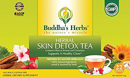 - Buddha's Herbs Skin Detox Tea with Hibiscus and Cinnamon, 44 Tea Bags (Pack of 2)
