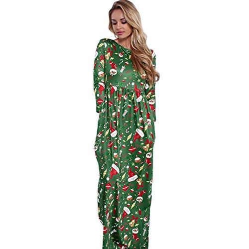 Kinikiss Women's Christmas Santa Snowman Print Floral Long Sleeve Xmas Maxi Party Dress,Light - Clothes Party Xmas