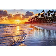 JP London SPMUR2273 Peel & Stick Removable Wall Mural Sunset Beach Tropical Paradise At 3' Wide By 2' High Fully Removable Peel & Stick Wall Art