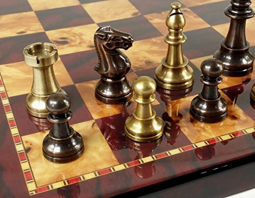 HPL Real Brass Metal Staunton French Lardy Chess Men Set Antique Bronze and Brushed Gold with Cherry Color Board