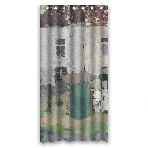 Eyeselect Bathroom Curtains Of Art Painting Rik Wouters - White Facades And Garden In Bosvoorde Polyester Width X Height / 36 X 72 Inches / W H 90 By 180 Cm Best Fit For Artwork Relative