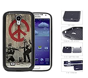 Soldiers Anti-War Peace Symbol Painting 2-Piece Dual Layer High Impact Rubber Silicone Cell Phone Case Samsung Galaxy S4 SIV I9500