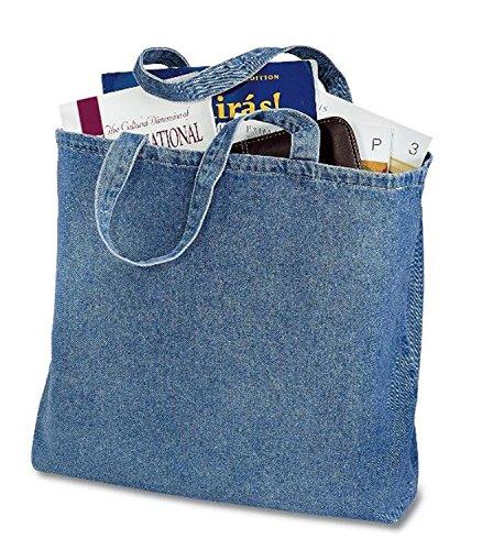 Cotton Denim Tote - (6 Pack) 6 Pack Heavy Cotton Denim Convention Reusable Tote Bag (Denim)
