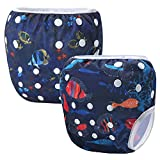 Storeofbaby Baby Reusable Cloth Diapers Swimwear Adjustable Snaps 0-3 Years 2 Pack