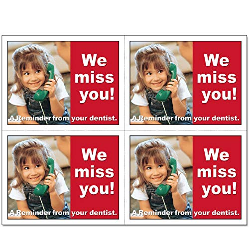 Laser Reminder Postcards, Dental Appointment Reminder Postcards. 4 Cards Perforated for Tear-Off at 4.25'' x 5.5'' on an 8.5'' x 11'' Sheet of 8 Pt Card Stock. DEN103-LZS (1000) by Custom Recall (Image #1)
