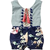 Viahwyt Super Lovely Spring Summer Infant Baby Girls Clothing Sleeveless Floral Print Tassel Backless Romper Jumpsuit Cute Toddler Kids Outfits Lolly (Gold, 110cm)