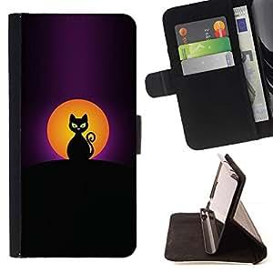 Momo Phone Case / Flip Funda de Cuero Case Cover - De Halloween Negro Luna Gato Pintura; - Huawei Ascend P8 Lite (Not for Normal P8)