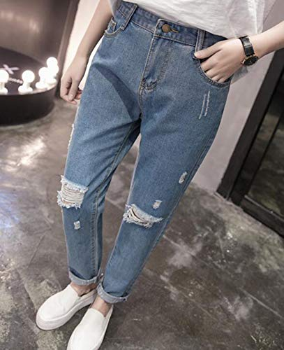 Jeans Boyfriend Donna Huateng Strappato Da Con Foro ZSOWwWT1qx