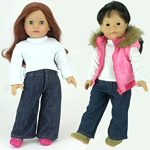 3-pc-set-of-18-inch-doll-clothing-clothes-by-sophias-fits-american-girl-dolls-doll-jeans-white-t-shi