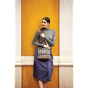 Myra Bag Azure Upcycled Canvas & Cowhide Leather Shoulder Bag S-1266