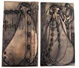 Art Nouveau Charles Rennie Mackintosh Wall Plaque Pair