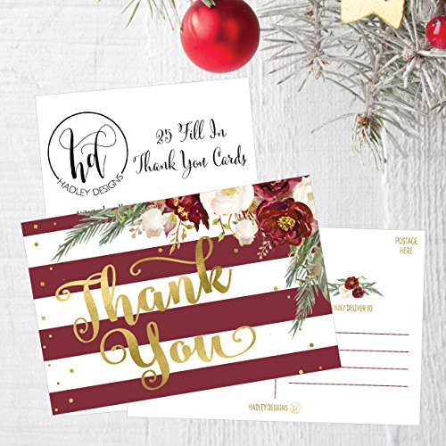 25 4x6 Blank Christmas Holiday Thank You Postcards Bulk, Cute Modern Fancy Winter Note Card Stationery For Wedding, Bridesmaids, Bridal or Baby Shower, Teachers, Appreciation,Religious, Business Cards Photo #2