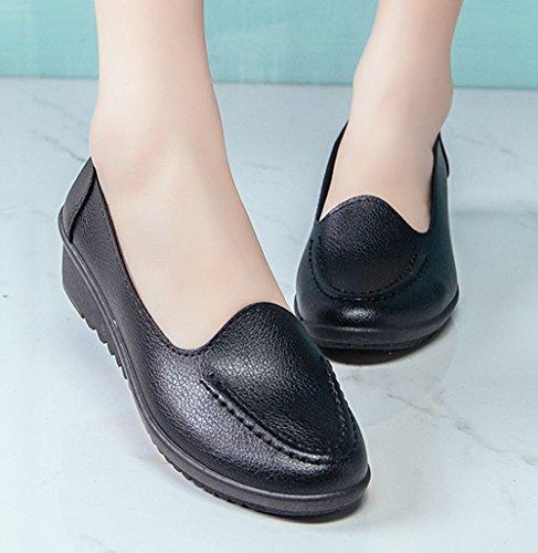 WUIWUIYU Women's Loafers Slip On Comfort Casual Leather Shoes Wedges Walking Moccasins by WUIWUIYU (Image #3)