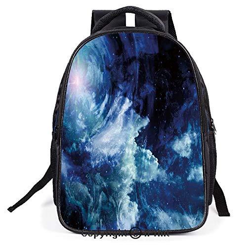 Casual Fashion School Backpack,Nebula Gas Cloud on Celestial Sphere Universe Themed Infinity Design Galaxy Art Print,L11.8xW6.3xH15.7inch (Bones Pocket Wheels)