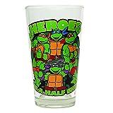 Silver Buffalo NT45031P Nickelodeon Teenage Mutant Ninja Turtles (TMNT) Heroes in a Half Shell Boxed Single Pub Glass, 16 oz, Clear