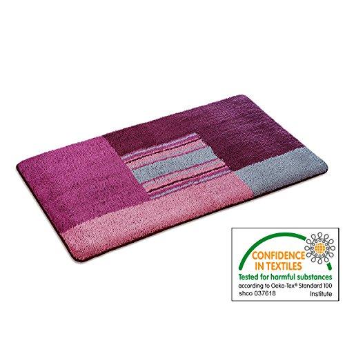 casa pura Bath Mat - Bath Rug Lara - Soft Pile, Non-Slip, Pink - 28