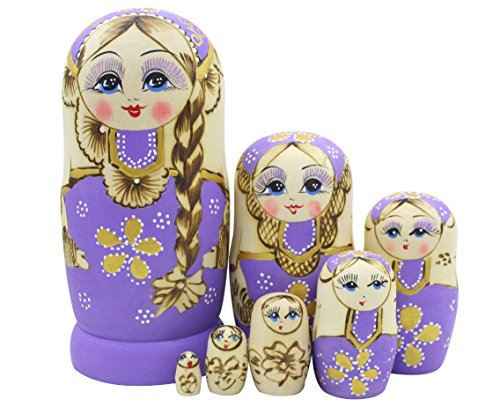 Winterworm Cute Little Girl With Big Braid Handmade Matryoshka Wishing Dolls Russian Nesting Dolls Set 7 Pieces Wooden Kids Gifts Toy Home Decoration …