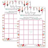 Girls Woodland Baby Shower Bingo Game Card Set of 25