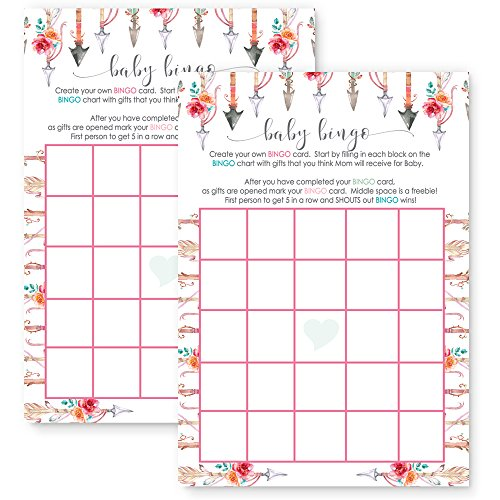 Girls Woodland Baby Shower Bingo Game Card Set of 25 by Paper Clever Party
