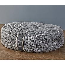 Brentwood Home Crystal Cove Meditation Cushion, Buckwheat Zafu Floor Pillow, Made in California, Oval