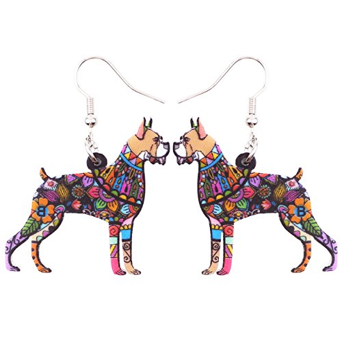 Bonsny Acrylic Drop Boxer Dog Pets Earrings Funny Design Lovely Gift For Girl Women Fashion Jewelry (Multicolor)