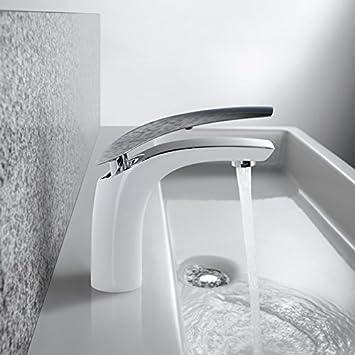 Homelody Wasserhahn Bad Waschtischarmatur Weiß Chrom Armatur Waschbecken  Badarmatur Mischbatterie Einhebelmischer