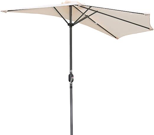Angel Living Half Circular Parasol, Sombrilla Semicircular 270cm de Aluminio, Mástil Central de Aluminio de 38 mm, para Jardín Patio (Crema): Amazon.es: Jardín