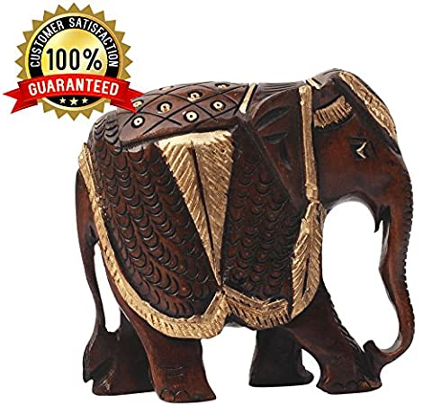BEST GIFTS - Wooden Elephant Statue -Thai Elephant Decor Statue Feng Shui Collectible Animal Figurine Hand Carved Sculpture Adorable Gift Item Home Decor Housewarming Gifts Items