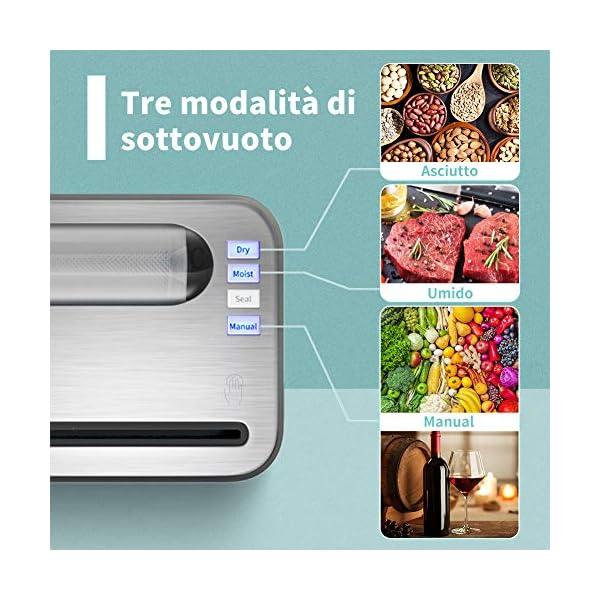 Yissvic Macchina Sottovuoto per Alimenti con Taglierina incorporata e Contenitore per Rotoli, Macchina Sottovuoto… 2