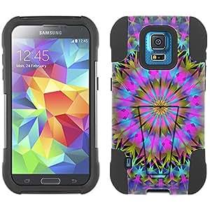 Samsung Galaxy S5 Sport Hybrid Case Mandala Colorful Triangluar on Black 2 Piece Style Silicone Case Cover with Stand for Samsung Galaxy S5 Sport