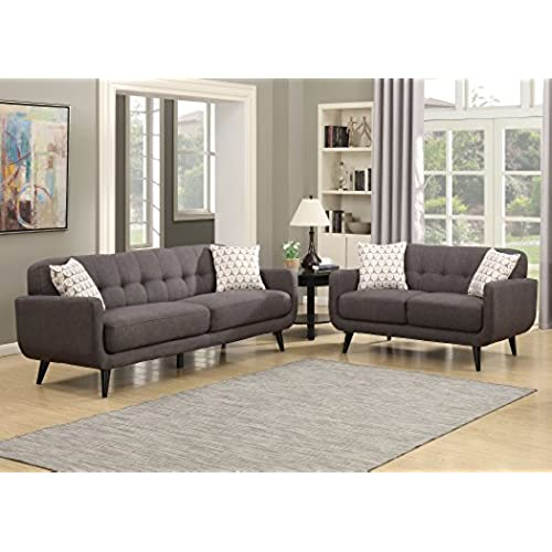 AC Pacific Crystal Collection Upholstered Charcoal Mid Century 2 Piece  Living Room Set With Tufted Sofa And Loveseat And 4 Accent Pillows, Charcoal