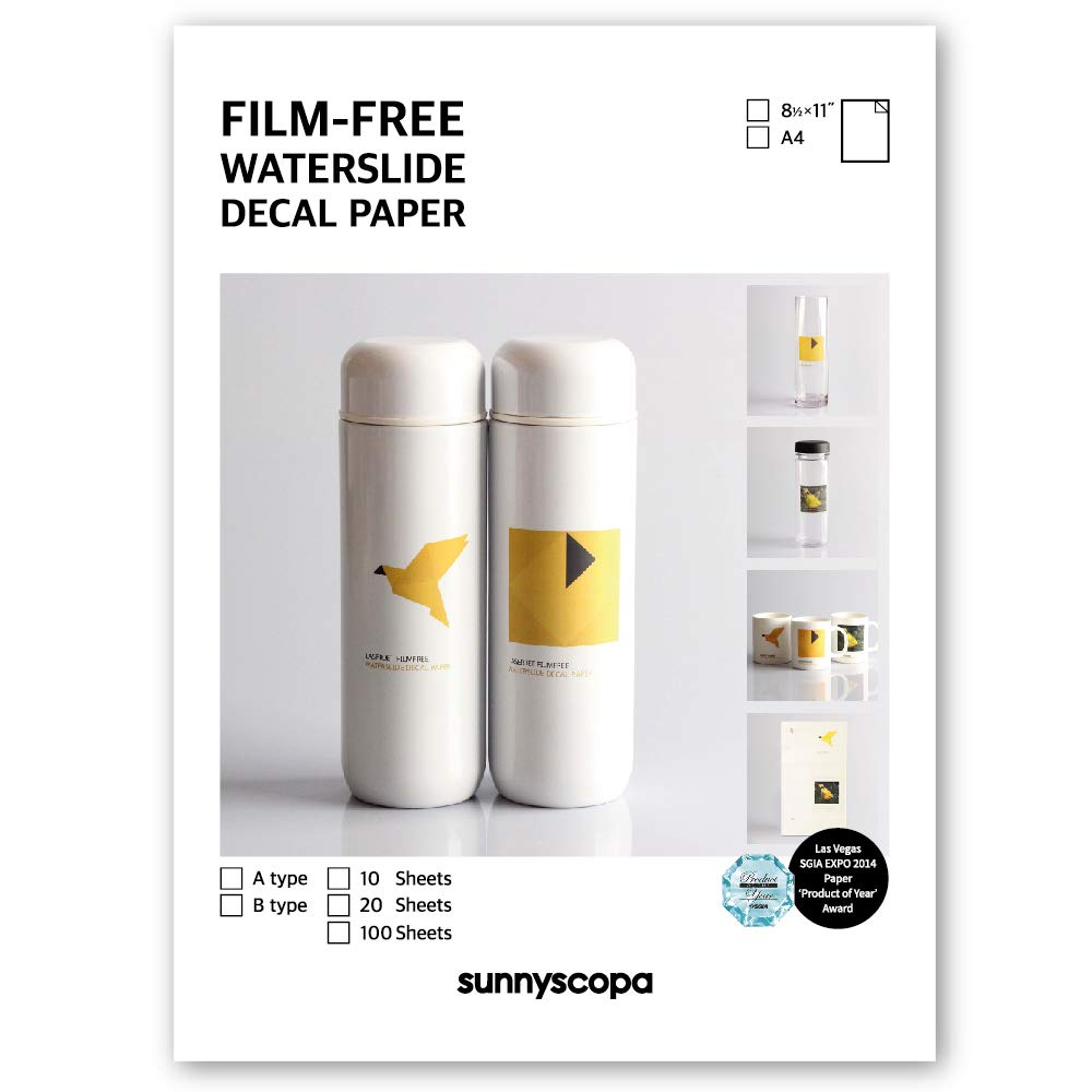 Sunnyscopa Laser Waterslide Decal Paper Film-Free A-Type 8.5''x11'' (10 sheets with 1.7 fl oz Glue)