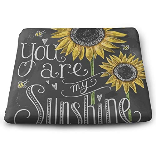 STWINW Indoor/Outdoor Comfortable Memory Foam Seat Cushion You are My Sunshine Sunflower Chair Pad Wheelchair Cushion for Office,Vehicles,Home,Truck Driver,Kitchen Chairs,Car