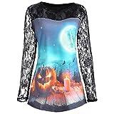 YOcheerful Lace Blouse Women Halloween Pumpkin Print T Shirt Long Sleeve Shirt Casual Tops Black