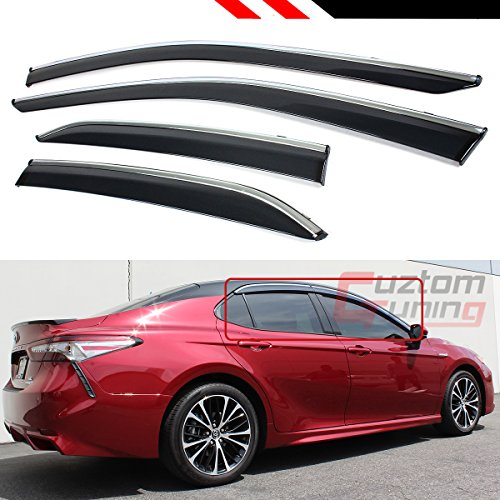 Fits for 2018 Toyota Camry Clip-on Type Chrome Trim Window Visor Rain Guard ()