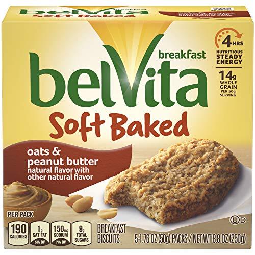 - belVita Soft Baked Oats & Peanut Butter Breakfast Biscuits, 5 Count Box, 8.8 Ounce