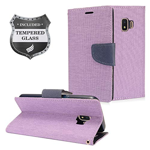 Dash Denim - Eaglecell - Compatible with Samsung Galaxy J2 (MetroPCS), J2 Pure, J2 Dash, J2 Shine, J2 Core (2018), SM-J260 - Denim Fabric Flip Wallet Case + Tempered Glass Screen Protector - CT5 Purple